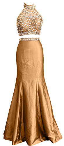 Taffeta Long Mermaid Women Prom Gold MACloth Dress Two High Piece Formal Gown Neck 0Y5xnqxT