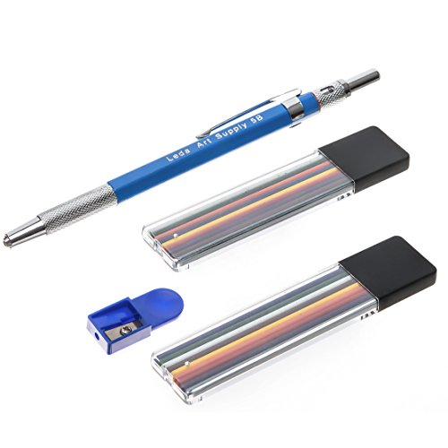 Leda Mechanical Colored Pencil set with two cases of colored lead and sharpener for drawing and sketching. by Leda Art Supply