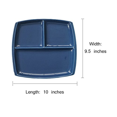 FLYING BALLOON Elegant Quadrate Shaped Ceramic Divided Plate Dinner Plates Luncheon Plates Salad Plates Dishes Best Gift for Kitchen, White/ Dark Blue by FLYING BALLOON (Image #1)