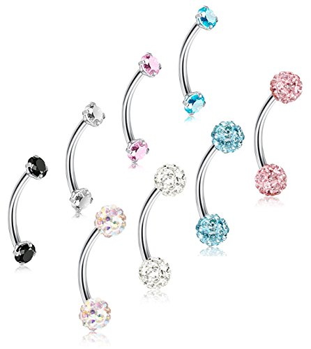 ORAZIO 8Pcs 16G Stainless Steel Eyebrow Ear Navel Belly Lip Ring Body Piercing Jewelry (16 Gauge Eyebrow)