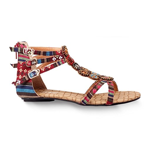 Mode Cybère Ouvert Toe Bohème Sandales Pour Les Femmes Plat Plage Sangle Chaussures Rouge