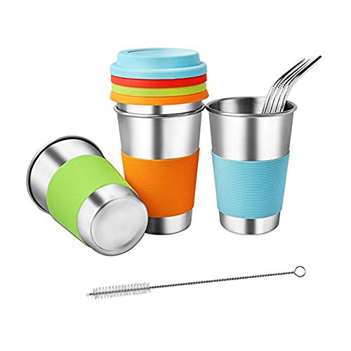 (Stainless Steel Cups tumbler with Lids and Straws,RELEE Drinking Cups straw with Silicone Sleeve,17OZ/500ml Unbreakable Premium Metal Drinking Glasses,Drinking Tumblers with for Adults and kids(4 Piec)