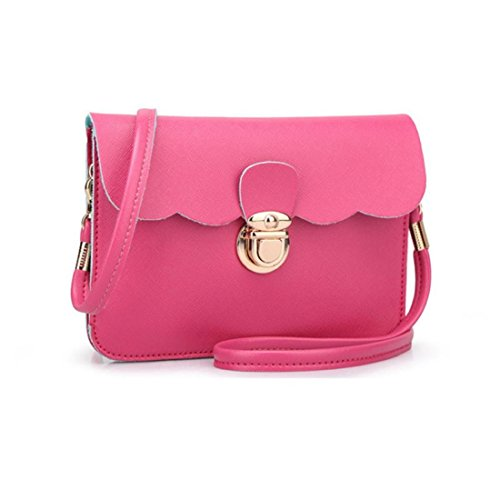 Tongshi De las mujeres de cuero bolso de embrague del bolso de mano del monedero del Hobo Mensajero (Negro) Rosa caliente