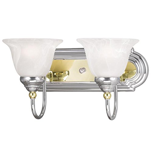Bathroom Vanity 2 Light with White Alabaster Glass Chrome & Polished Brass - World of Crystal
