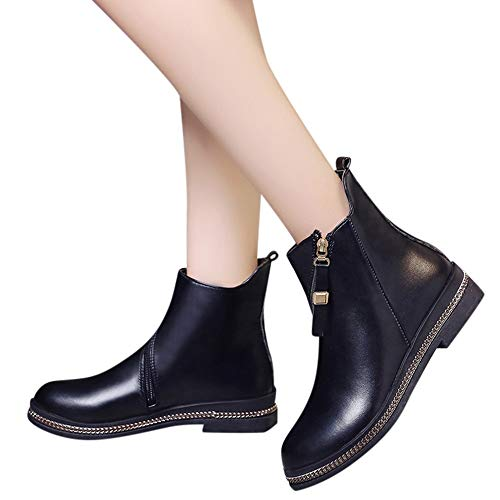 DongDong Seasonal Offers❣Women's Irregular Zipper Short Boots- Fashion Solid Color Leather Low Heel Round Toe Shoe ()