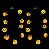 YUNLIGHTS LED Light Up Pumpkin Necklace with 6 Lighting Modes 35-Inch Party Favors, 2 Pack (Orange)
