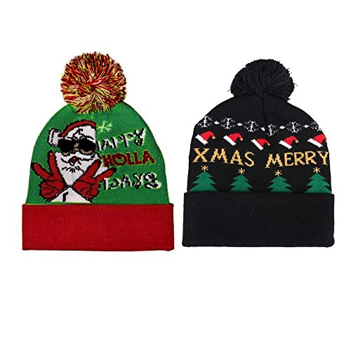 (Outsta LED Light-up Knitted Novelty Christmas Ugly Sweater, Flashing hat Jacquard Hat Christmas Beanie (2PC,A+B))