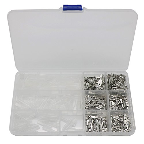 270Pcs Quick Splice 2.8mm 4.8mm 6.3mm Male and Female Wire Spade Connector Wire Crimp Terminal Block with Insulating Sleeve Assortment Kit by Zovfam (Image #4)
