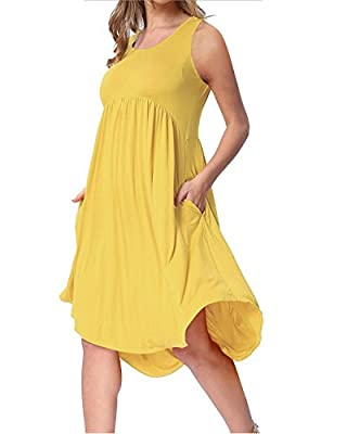Ineffable Women's Sleeveless Pockets Casual Loose Swing Flare Dress