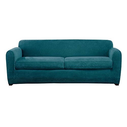 Sure Fit Ultimate Stretch Chenille Slipcover 2-Seat Box Cushion Sofa - Teal ()