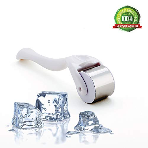Ice Roller, Eye roller, face roller – ice massage, Stainless Steel Wheel for Face & Body Massage, Anti-Aging massage roller, Eye Puffiness, Migraine Pain Relief and Minor Injury Care Product (white) (And Neck Head System Lymphatic)