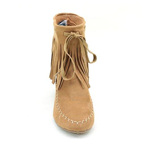 Suede Mocassin Fringe Vegan Vegan Women's Flat Boot vSAwBq7x