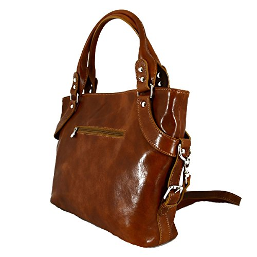 Borsa Donna In Vera Pelle Con Tracolla Rimovibile Colore Miele - Pelletteria Toscana Made In Italy - Borsa Donna
