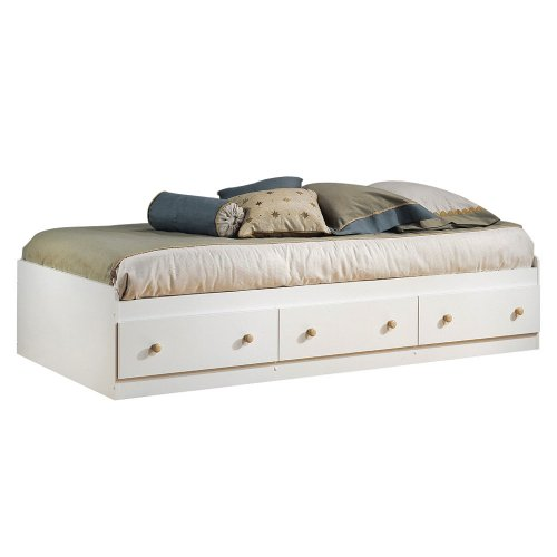 Bed Finish Maple Mates (South Shore Furniture Summertime Collection Twin Mates Bed, Pure White and Natural Maple)