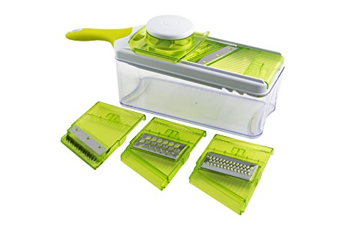 Mandoline Slicer Set, Cuts Fruits & Vegetables, Straight & Julienne, Grates Cheese, with 4 Adjustable Blades, Safety Holder , By Tiabo