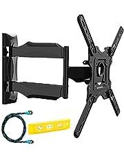 Invision® Support Murale TV Orientable et Inclinable - pour Les Écrans 4K, UHD, LCD, Plasma et Incurvés de 24 à 55 Pouces (61-140cm) – Max VESA 400x400mm – avec Câble HDMI 1.8m (HDTV-E)