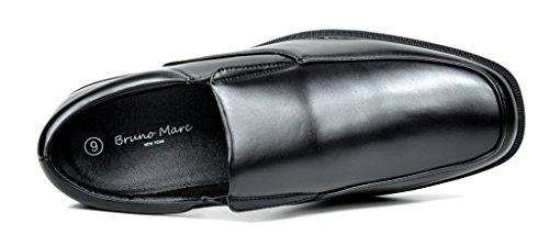 Bruno Marc Heren Lederen Voering Vierkante Teen Jurk Loafers Schoenen 2-zwart