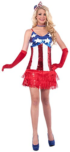Forum Novelties Women's Patriotic Sequin Sparkle Costume Dress, Red/White/Blue, X-Small/Small ()