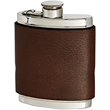 Wentworth Pewter- Bournville Brown Leather Pewter Kidney Flask,Hip Flask, Spirit Flask, 6oz capacity, with captive top