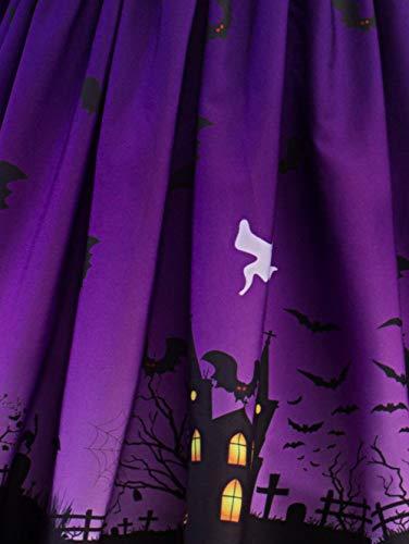 Soire Courtes Cocktail Women Patchwork Citrouille Femme Jupe Souris Imprimes lgant de Rtro Festival Violet Dentelle Longue Fte Fille Soire Manches Chauve b d'halloween Robe Halloween Robe Robe Piebo CzdqAC