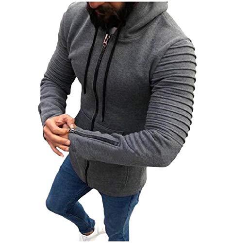 Uomini Grigio Giacche Rkbaoye Lunga Cofano Manica Degli Cerniera Anteriore Aperta Scuro Shirring Outwear qUrpPqv
