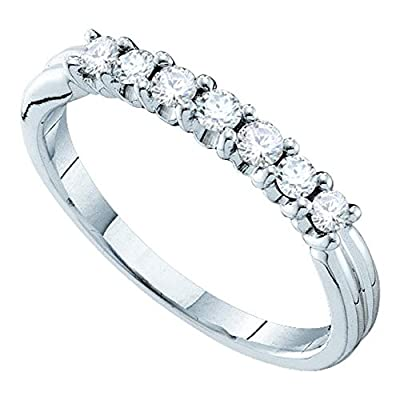 14kt White Gold Womens Round Pave-set Diamond Single Row Wedding Band 1/3 Cttw