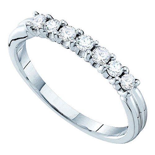 Solid 14k White Gold Seven Stone Diamond Wedding Band Stackable Ring Bridal Style Polished Fancy 1/3 ctw ()