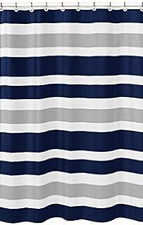 Navy Blue Gray And White Kids Bathroom Fabric Bath Teen Stripe Shower Curtain48x72inch