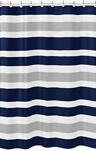 Navy Blue, Gray and White Kids Bathroom Fabric Bath Teen Stripe Shower Curtain,36x78inch