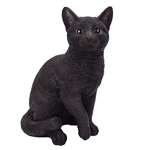 ABZ Brand Realistic Black Cat with Detailed Glass Eyes Statue 12