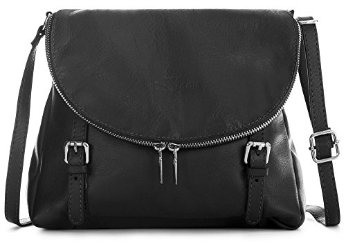 Soft Buckle Tuscan Medium Handbag Body Shoulder Effect Italian Liatalia Genuine Leather Black Stella Cross FwqIYCcBx