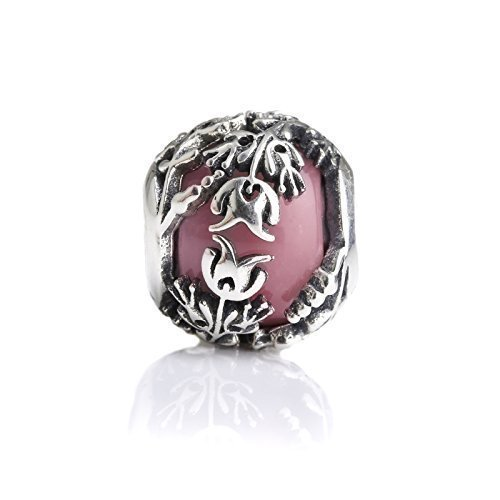 - Pink Murano Glass & Sterling Silver Charm Flower Bead S925, Red Glass Silver Flower Charm Bead pendant, Princess Aurora Jewelry, Pink Flowers Tulips Charm, Pandora compatible Charm