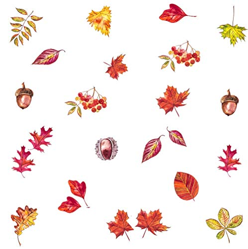 Thanksgiving Autumn Leaves Wall Sticker, Maple Leaf Nut Cherries Window Cling Decal, Thanksgiving Home Decals (24 pcs)]()