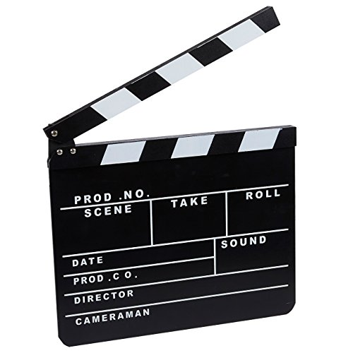 Juvale Clapper Board - Hollywood Director Film Slate, Clapboard Prop for Film, Movie Decoration Black 11.81 x 0.59 x 10.31 Inches -