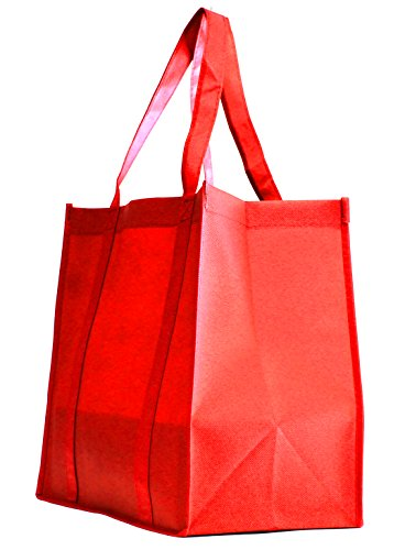 100 Pack Heavy Duty Grocery Tote Bag, Red Color Large & Super Strong, Reusable Shopping Bags with Stand-up PL Bottom, Non-Woven Convention Tote Bags, Premium Quality (Set of 100 (1BOX), Red) - Non Woven Polypropylene Tote
