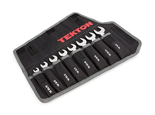 (TEKTON WRN50086 Stubby Ratcheting Combination Wrench Set with Roll-up Storage Pouch, Inch, 5/16-Inch - 3/4-Inch,)