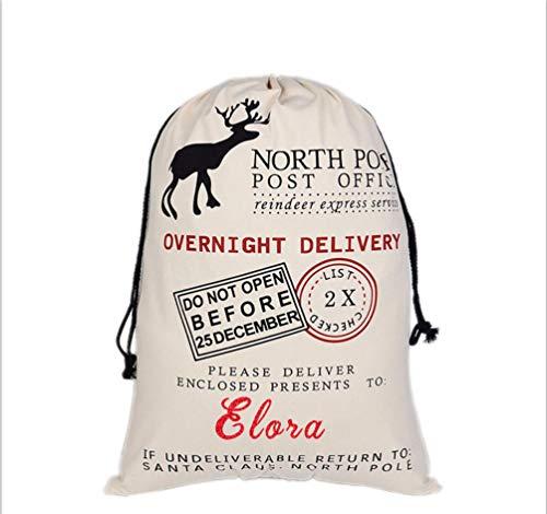 HUAN XUN Custom Name Christmas Santa Sack Elora Best Gifts Bags for Home -