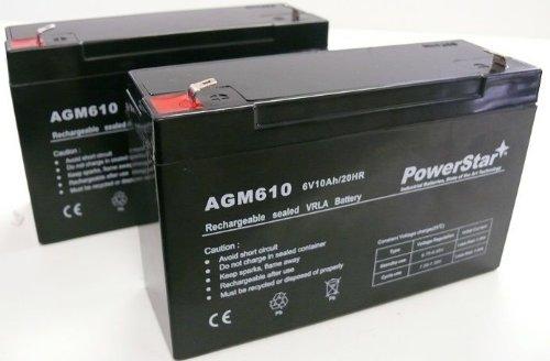 POWERSTAR PowerStar2 Pack - 6V 10Ah UB6120 UPS Battery Replaces 10ah Enduring 3FM10 T2, 3-FM-10 by POWERSTAR