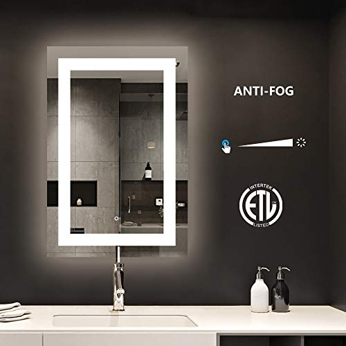 smartrun Bathroom LED Lighted Backlit Mirror, Anti-Fog Bathroom Makeup Vanity Lighting Mirror with Touch Button and Dimmer Light-Jazz 24