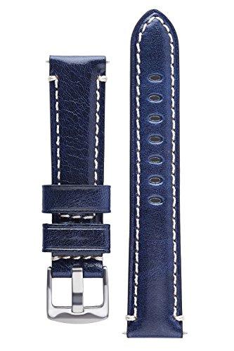 Signature Pilot Blue 20 mm Calfskin Watch Band Calf Leather Watch Strap Replacement Bracelet ()