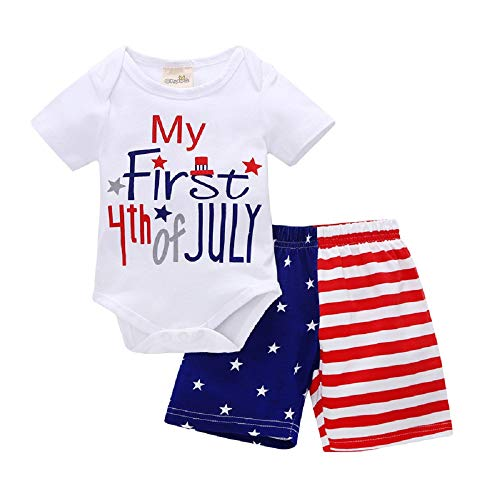 (YIFASHION 2Pcs Infant Baby Girl Boy Stars Striped T Shirt 4th of July Tops + Shorts Outfits Set(70/3-6)