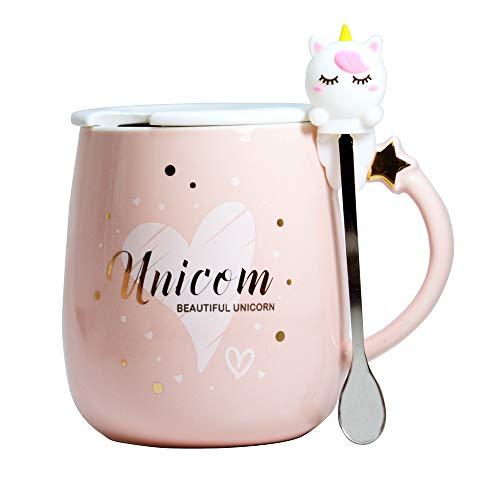 Linda taza unicornio Cerámico café Té Taza de leche tazas divertidas Taza novedosa con tapa y cuchara Regalos para Bodas…
