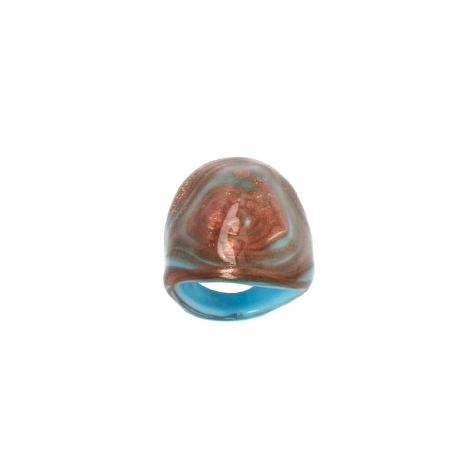 Light Blue Tone Murano Glass Ring, Size 9