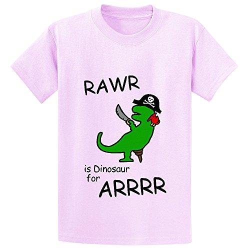 Unicorn Rawr Is Dinosaur For Arrr Pirate Girls Print Crew Neck T Shirt Pink