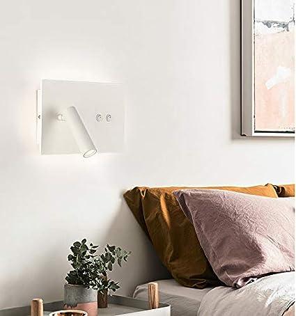 Lámpara de pared de doble luz LED para mesita de noche con ...
