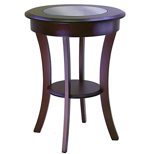 Glass Top End Table with Shelf Wooden Cappuccino Brown Round Curved Classic Traditional Chairside Sofa Side Table Accent Living Room Furniture eBook by Easy&FunDeals