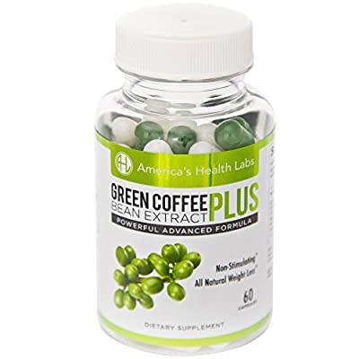 AHL Vitamins Green Coffee Bean Extract Plus - Best Weight Loss Pills and Natural Appetite Suppressant - 60 Tablets - 1200mg
