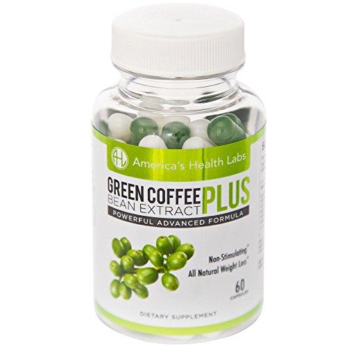 Америки Здоровье Labs Зеленый кофе Plus со стандартизированными 50% хлорогеновая кислота. Природные Потеря веса и подавления аппетита. 1200 мг на порцию, 60ct капсулы.