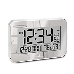 Marathon Atomic Wall Clock with Alarm, Snooze and Table Stand. Designer Frame with Clear Bezel. Easy To Read Date, Temperature & Humidity.8 Time Zones. Batteries Included. Color–Silver. SKU-CL030060SV