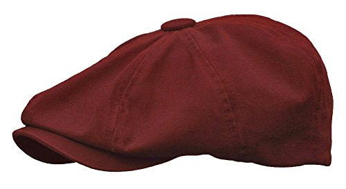 Rooster Washed Cotton Newsboy Gatsby Ivy Cap Golf Cabbie Driving Hat (Small, Burgundy) ()